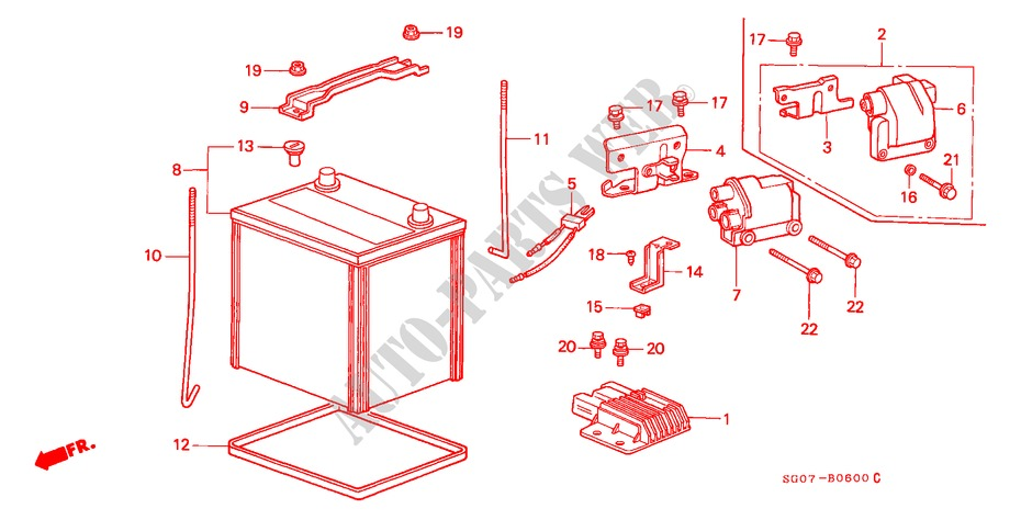 bobine dallumage batterie equipements electriques echappement v6 27i 1988 legend coupe honda. Black Bedroom Furniture Sets. Home Design Ideas