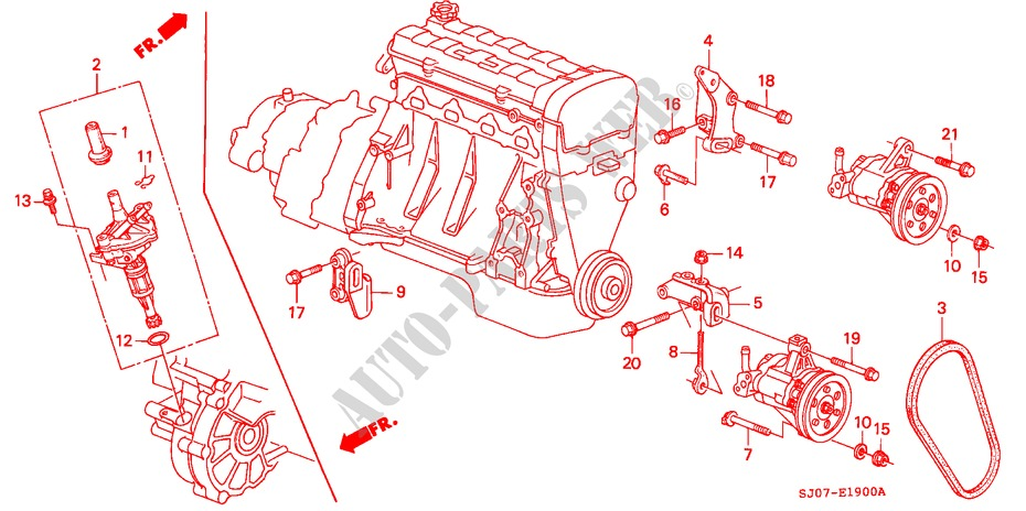 pompe de ps detecteur de vitesse moteur 20i 16 1988 accord honda voiture honda auto. Black Bedroom Furniture Sets. Home Design Ideas